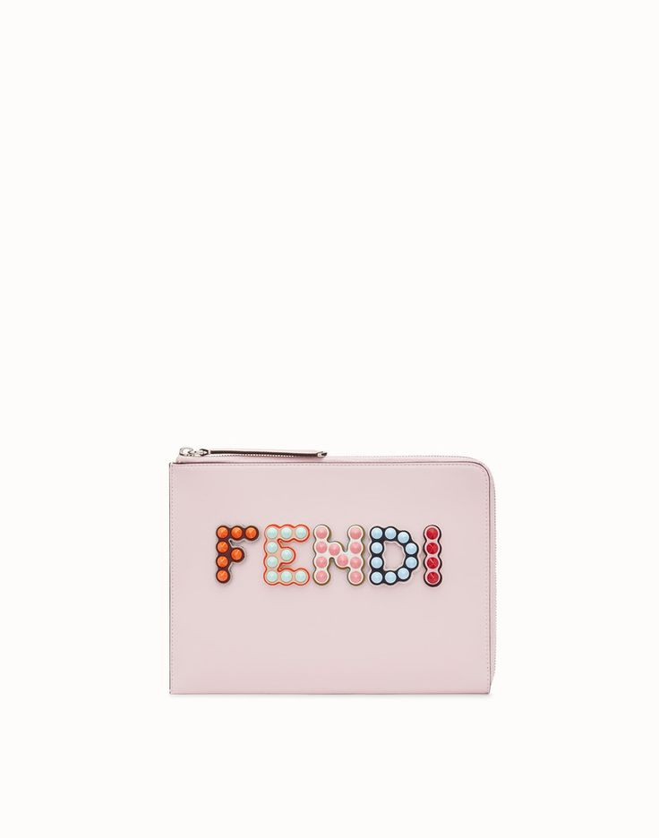 FENDI FLAT CLUTCH - Pink leather pouch - view 1 detail
