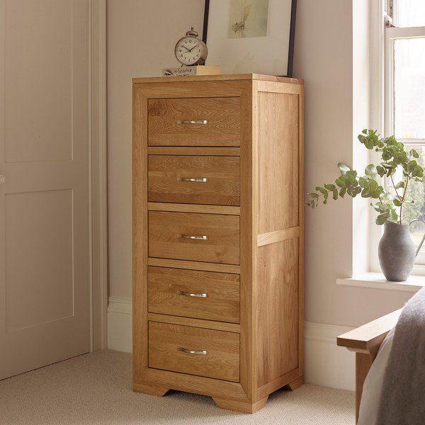 Tall Slim Chest Of Drawers Bevel Solid Oak Oak Furnitureland Chest Of Drawers Design Oak Furnitureland Solid Oak