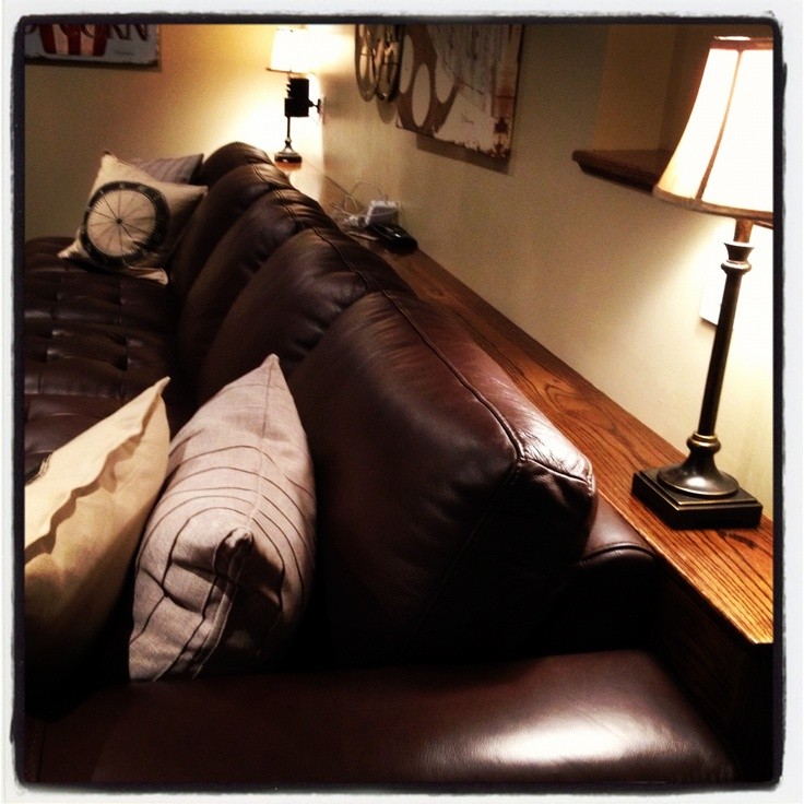 Adding a ledge behind your couch when there are no coffee for Living room no coffee table