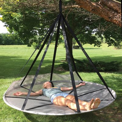Features:  -Comes with durable multi-use storage bag.  -Durable, breathable, washable, UV resistant mesh fabric.  -Includes bird and bug net.  Product Type: -Chair hammock.  Frame Finish: -Black.  Ham