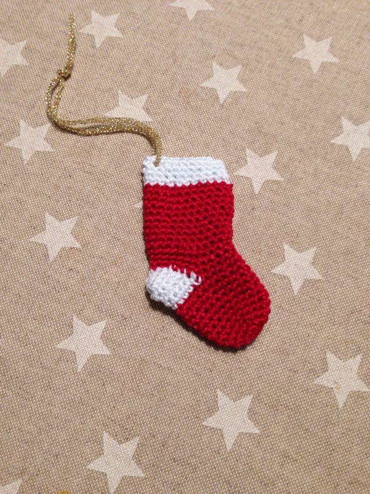 Calcet n a ganchillo para el rbol de navidad - Calcetin de navidad ...