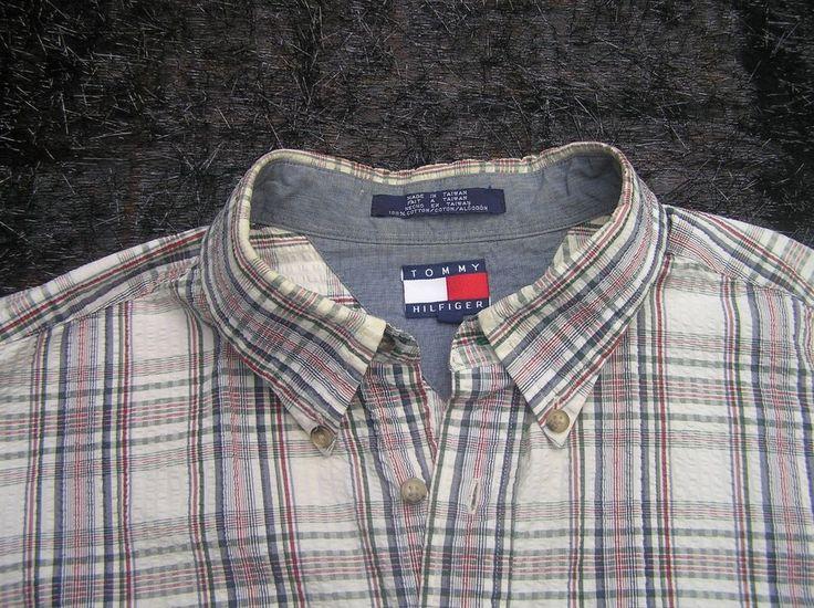 Tommy Hilfiger Short Sleeve Seersucker Shirt, neutral plaid, XL #TommyHilfiger #ButtonFront