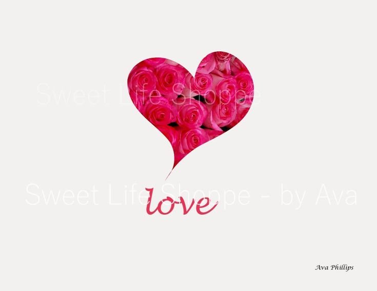 TITLE: Love Pink Roses in a Heart Shape Image with Love Word Art- on a White Background Orientation: Horizontal Image Size - 3000 x 2400 (Pixels) With 300dpi The picture is saved in a Landscape mode as an 8 x 10 format If you need a different size, please let me know >