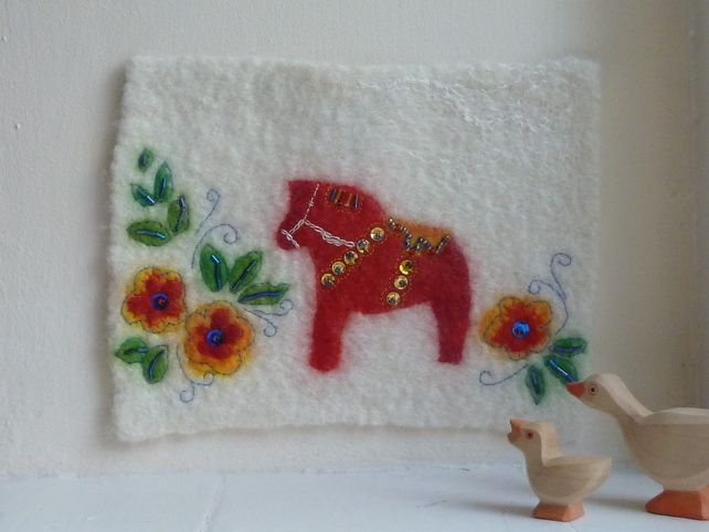 Dala Horse Wallhanging - Hand felted by Deborah Iden.  SALE Price - £20.00.  See how this item was made by following LittleDeb on Facebook.