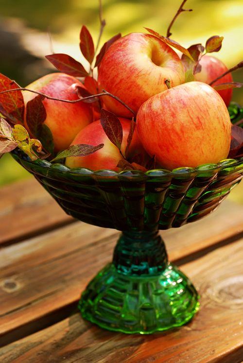 Apples: Fruit Dishes, Apples Art, Apples Crisp, Fall Decor, Autumn Decor, Fall Tables, Fall Apples, Apples Centerpieces, Fall Display