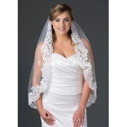 "Lace Edge Bridal Veil 30"" Ivory"