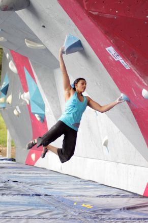 New Pro Megan Mascarenas, 16 years old, at the IFSC Bouldering World Cup in Vail, Colorado!