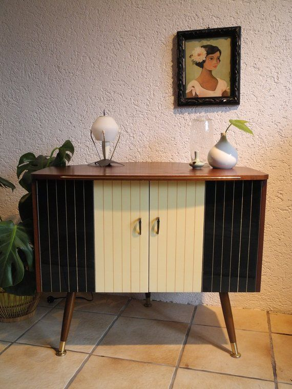 Very Well Preserved Fersehschrank From The 1950s With Filigree