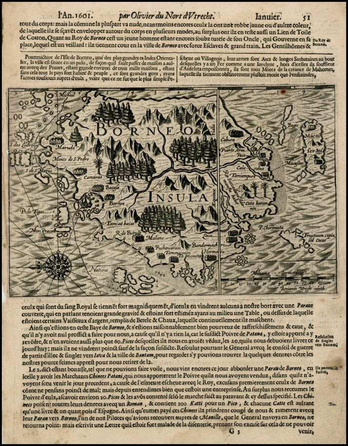 Borneo Insularum by Oliver Van Noort in 1602