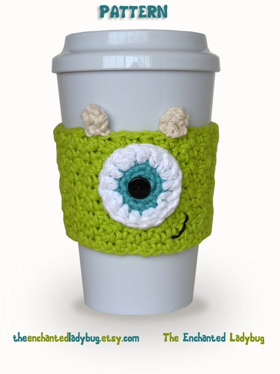 PDF pattern Crocheted monsters inc Mike coffee cup cozy