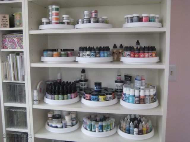 Winnie's Inky Fingers: My Stamp Room is Finished! (neat idea... lazy susan's for jars and bottles)