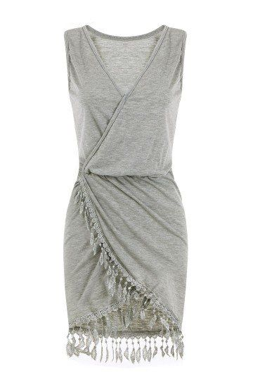 Gery V Neck Sleeveless Tassel Wrap Dress - US$17.95 -YOINS