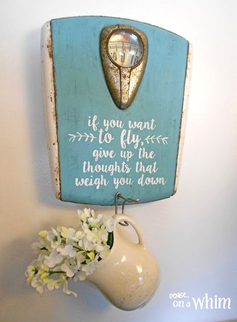 Vintage Scale Sign and Wall Hook by Denise on a Whim, featured on Funky Junk Interiors