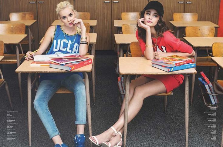 High school never ends fashion editorial   Nelly Magazine Models Taylor Hill and Hanna G Photography Per Norberg Art direction Tammie Söderberg Stylist Felicia Carlsson classroom bored sporty heels