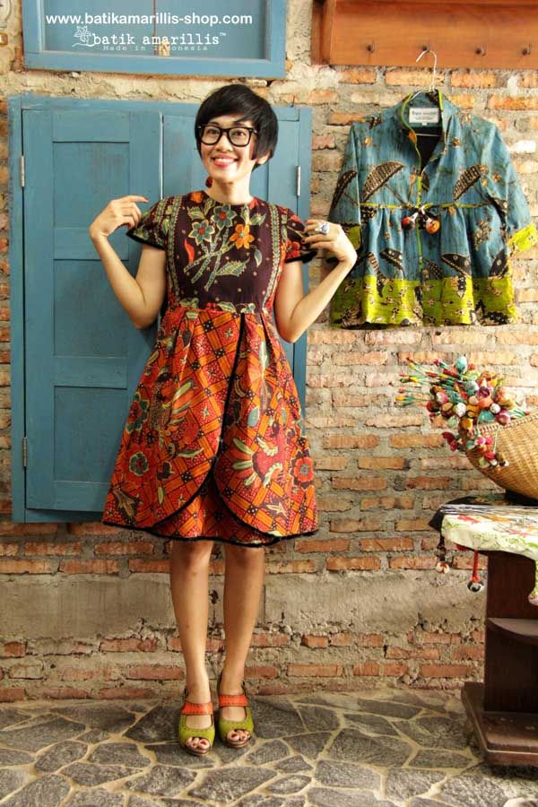 Batik Amarillis Creative Director Selly Hasbullah at Batik Amarillis Studio Wearing Batik Amarillis's Blooming dress ♥