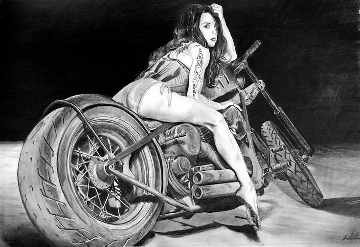 Rat bike girl! It takes 9 hours!    ONLY PENCIL!    WATCH THE SPEED DRAWING VIDEO ...click on the picture NOW!