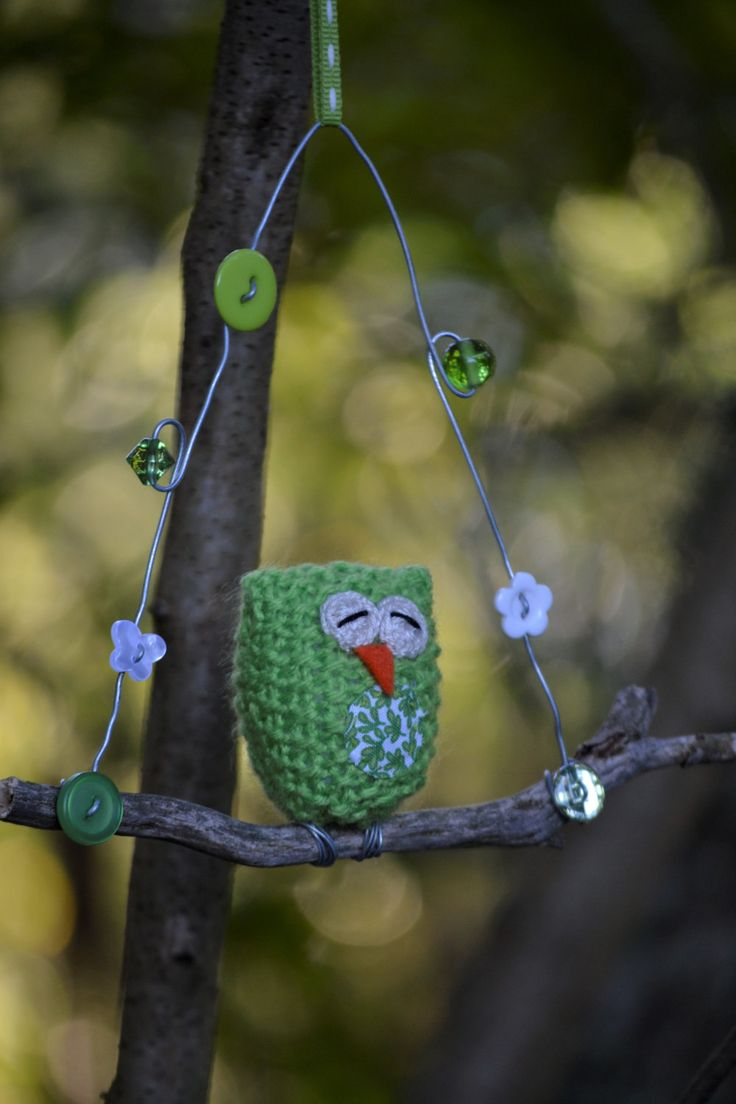 Owl on a Twig, Baby Owl, Green Owl, Knitted Owl, Sleepy Owl, Leafy, Buttons, Beads, Green, White by HeartmadeSouthAfrica on Etsy