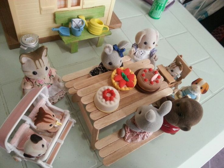 Made picnic table for my daughter's sylvanian family...all out of popsicle…