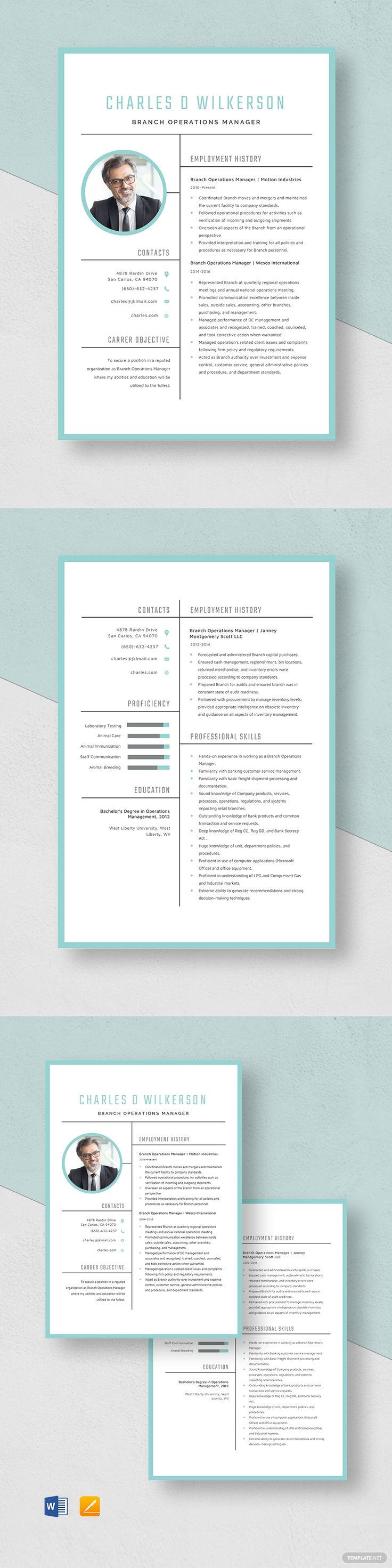 Branch operations manager resume template ad