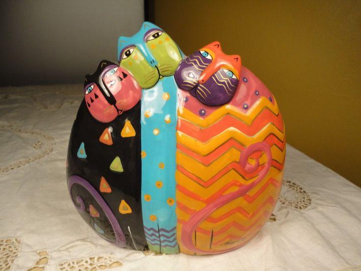 Older Laurel Burch 3 Cat Figurine for Ganz Bright Multi Colored Stylized Cats | eBay