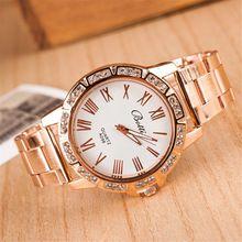 Cinta de aço relógio de quartzo moda das senhoras das mulheres pulseira de relógio de marca new Roman digital cristal de diamante rosa relógio de ouro mulher(China (Mainland))