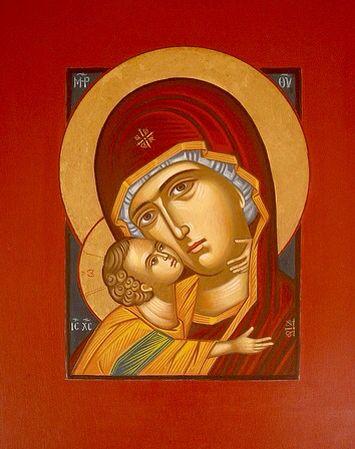 Theotokos with Red Frame - Maria Hatjivasiliou