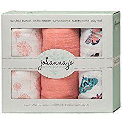 Baby Girl Swaddle Blanket Pack of 3 in Coral & Aqua { Dandelions & Mariposa }