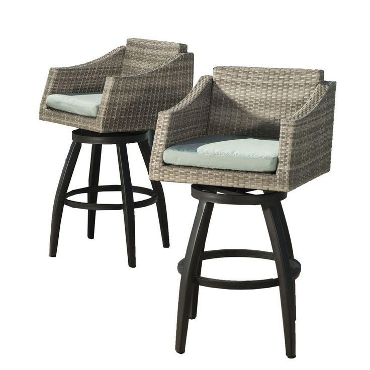 RST Brands Cannes All-Weather Wicker Motion Patio Bar Stool with Spa Blue Cushions (2-Pack)