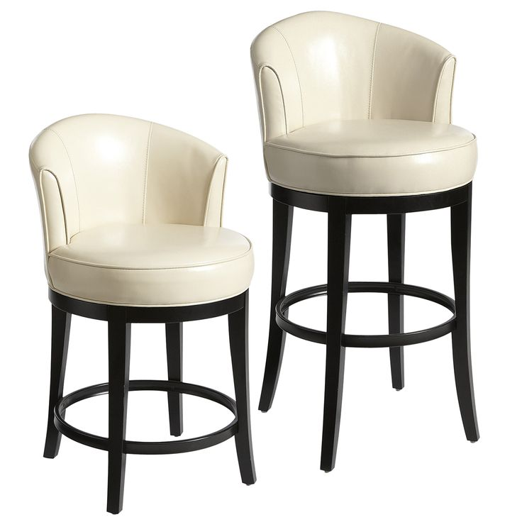 Isaac Swivel Bar Amp Counter Stools Ivory Faux Leather