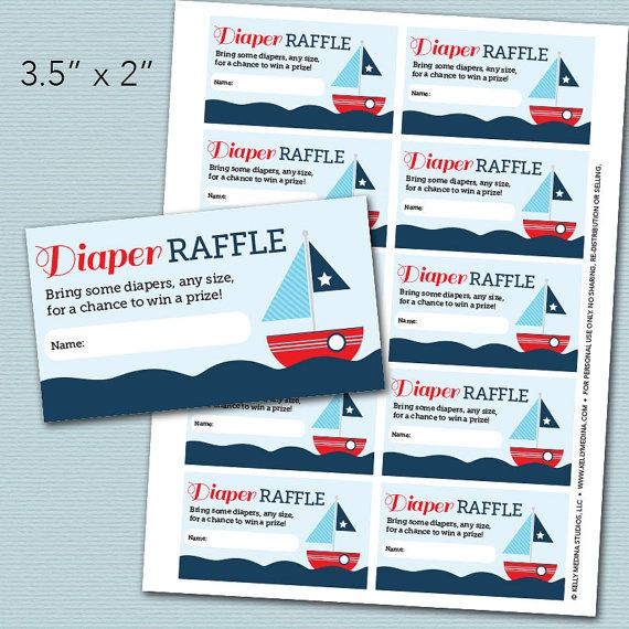 Sailboat Baby Shower Diaper Raffle Card Ticket - Navy Blue and Red - Nautical Sailboat - Instant Download