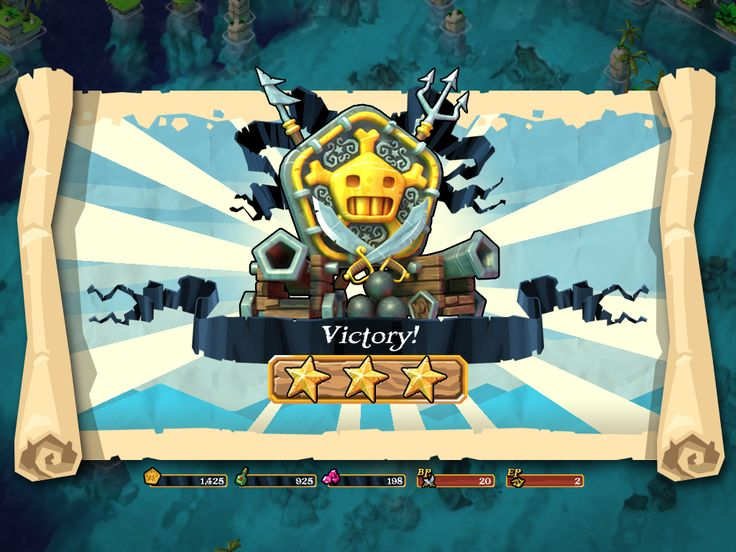Plunder Pirates by Midoki - Combat Victory Screen - Game UI HUD Interface Art iOS Apps