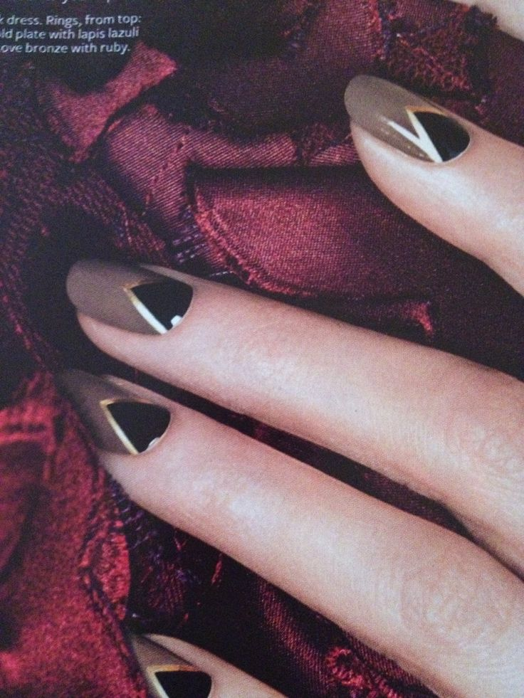 Art Deco Inspired Nails - black triangle at the base, gold striping tape surround and taupe for the tip - LOVE this colour palette for fall #nailart...x
