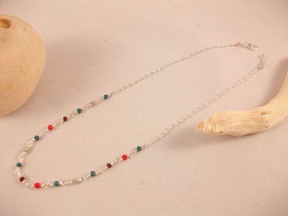 collier argent petite perle