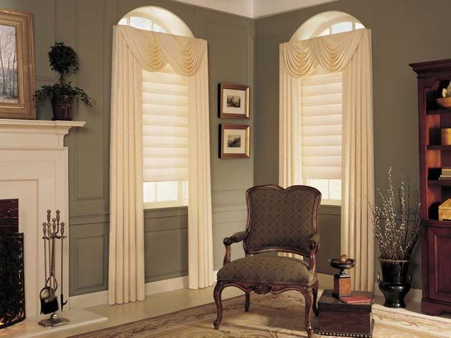 draperies and swag valances with vignette shades