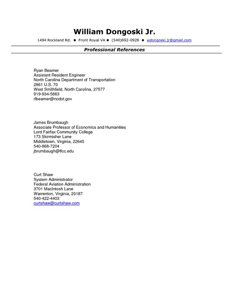 Resume references format example