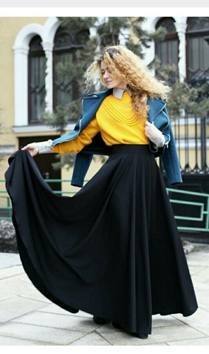 Осенний образ, длинная юбка солнце
