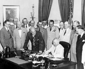 1947 President Truman signed the National Security Act, creating the Department of Defense, the National Security Council, the Central Intelligence Agency, and the Joint Chiefs of Staff.