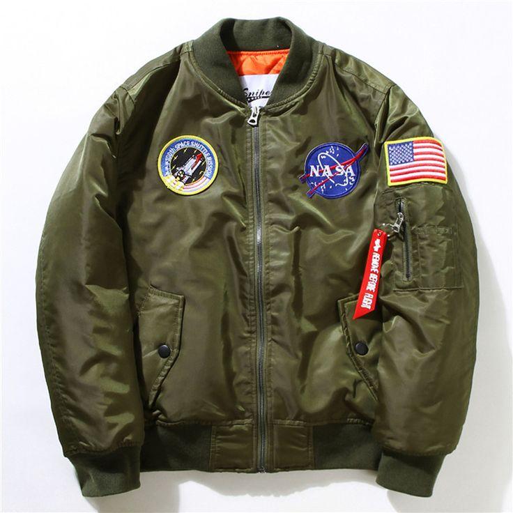 Winter Mens MA-1 Pilot Bomber Jacket Male Nylon Flying Tigers NASA Embroidery Air Force Flight Ma1 Jacket Plus Size 4XL 5XL 6XL