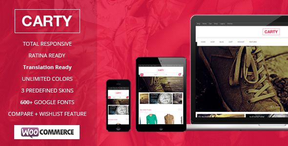 Carty Retina ,Responsive Woocommerce theme  - WooCommerce eCommerce