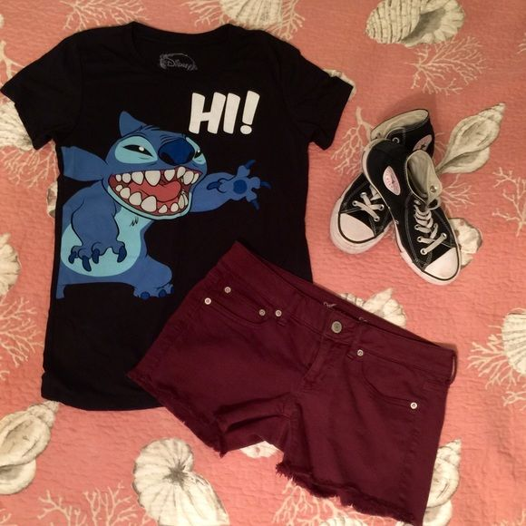 Disney's Lilo and Stitch graphic tee shirt  Excellent condition. Graphic t-shirt that features stitch from the Disney cartoon Lilo and stitch. So cute! No flaws no holds no trades. Smoke free home:) Disney Tops Tees - Short Sleeve