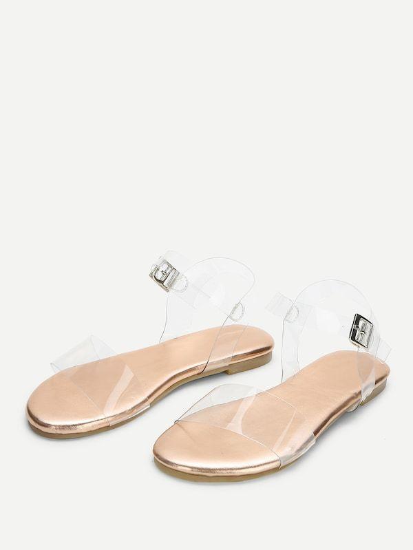 ee43f18bb59b Clear Strap Flat Sandals -SheIn(Sheinside)