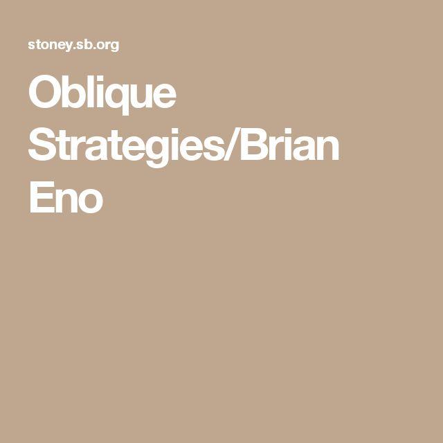 Oblique Strategies/Brian Eno