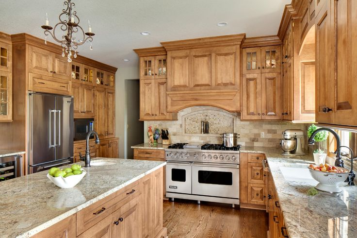 Magnificent Travertine Subway Tile Backsplash Image Gallery in Kitchen Traditional design ideas with Magnificent Bordeaux Sienna Granite Countertops chandelier Custom Cabinetry Custom Cabinets granite countertops hardwood