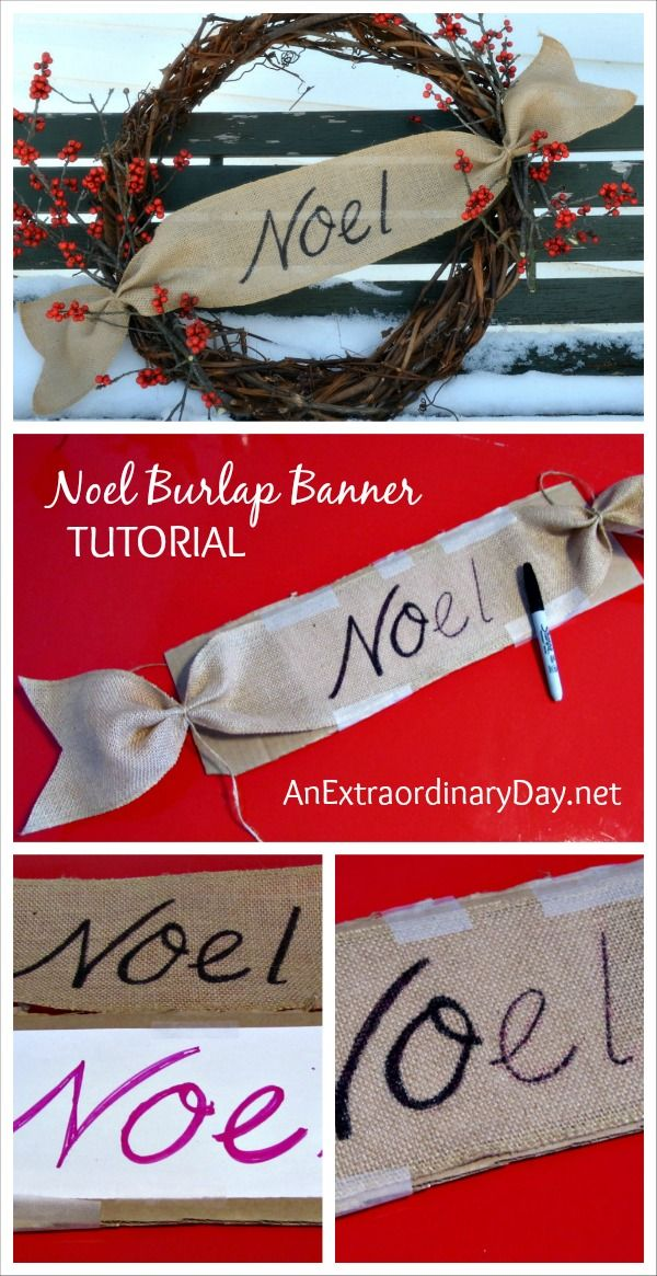 How to Create a Noel Burlap Banner for a Woodland Grapevine Wreath :: AnExtraordinaryDay.net