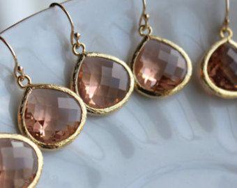 10% korting op SET van 3 Wedding Jewelry Gold Champagne Blush