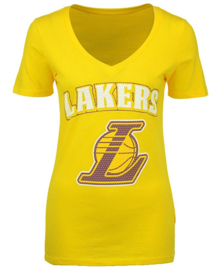5th & Ocean Women's Los Angeles Lakers Mesh Logo T-Shirt