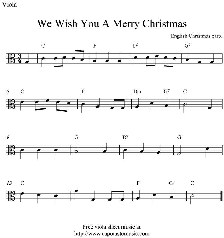 Viola Sheet Music for christmas   Free easy Christmas viola sheet music, We Wish You A Merry Christmas