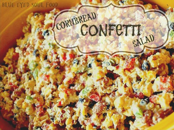 A delicious blend of crumbled cornbread, bacon, veggies, beans, cheese and ranch sour cream. Perfect side dish for a barbecue or any large gathering!