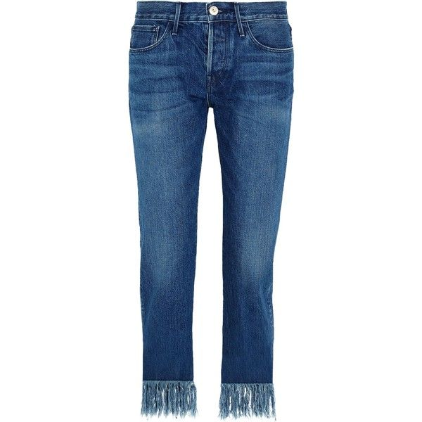 3x1  Mid-rise fringed straight-leg jeans (€170) ❤ liked on Polyvore featuring jeans, pants, 3x1 jeans, straight leg jeans, mid rise jeans, blue jeans and cropped jeans