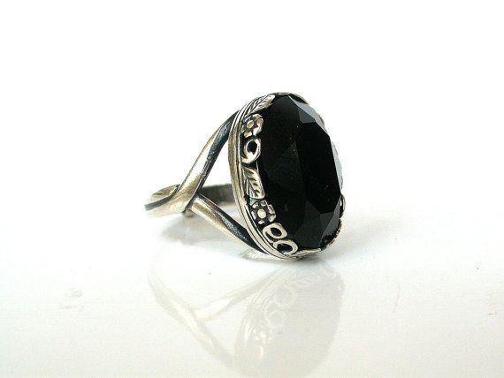 Gothic Ring - Jet Black Swarovski Engagement Ring - Victorian Gothic Wedding Jewelry